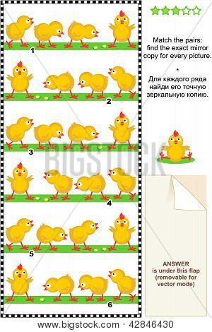 Spring picture puzzle with cute little chicks