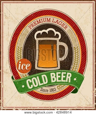 Vintage Cold Beer Poster. Vector illustration.