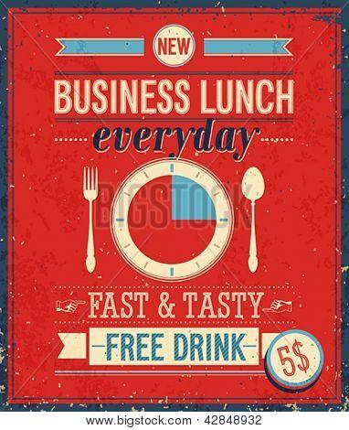 Bussiness vintage Poster de almoço. Ilustração vetorial.