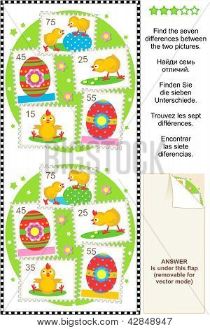 Find the differences Easter or spring visual puzzle