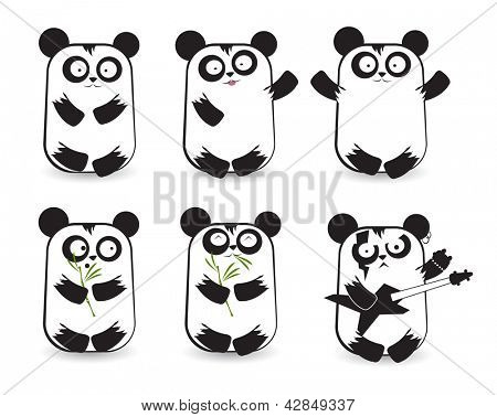 Vector set of cute pandas with different emotions