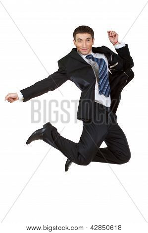 Young Happy Caucasian Businessman Jumping In The Air