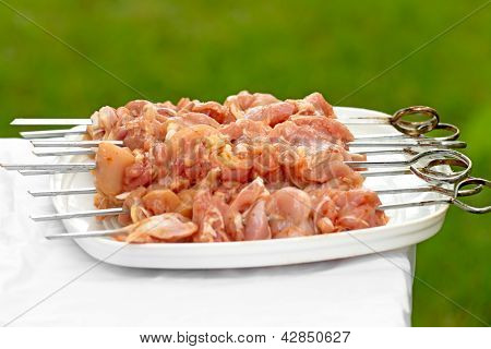 Raw chicken skewers ready for BBQ