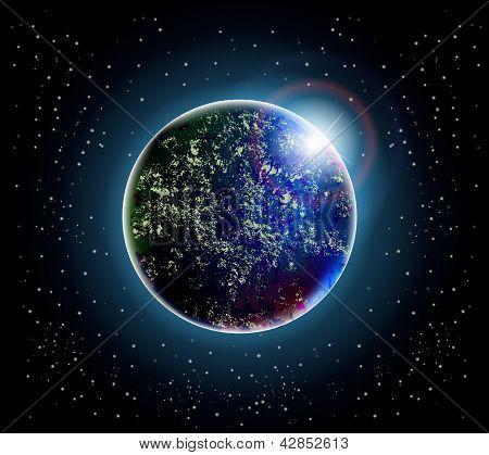 planeta e espaço