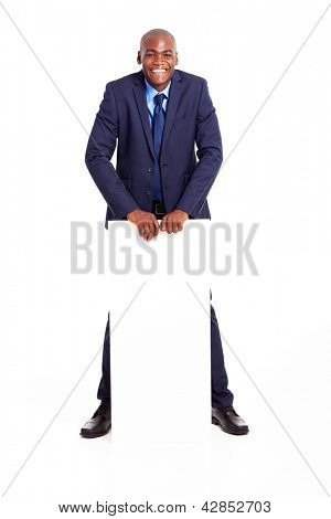 handsome african american businessman with white board isolated on white