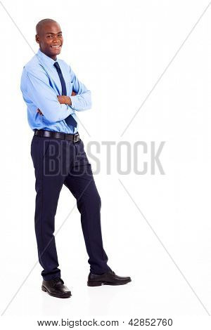 young black businessman full body portrait isolated on white