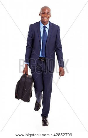 african businessman walking with suitcase isolated on white