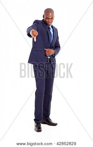 african businessman giving negative thumb down
