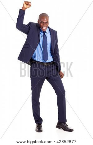 cheerful african american businessman waving fist isolated on white
