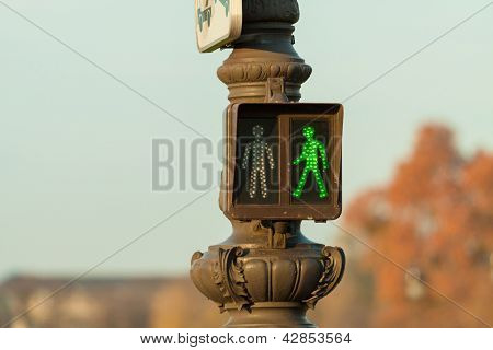 Green Pedestrian Traffic Light In Paris