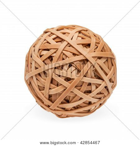 Brown rubberband ball with path