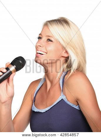 Pretty Blond Singing Girl