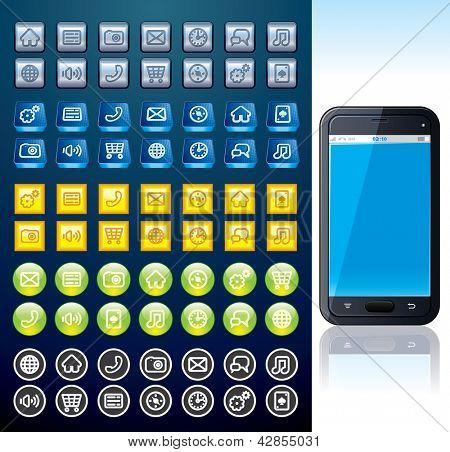 Touchscreen Smart phone with Set of Various Interface and Menu Buttons. Vector Collection
