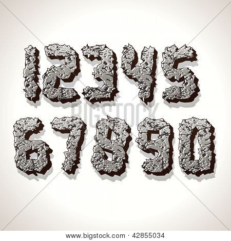 Alphabet Numbers Made from Old Cracked Stones. Vector Set of Grunge Font Letters.