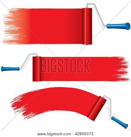Vermelho rolo escova de pintura na parede. Vários cursos de pintura sobre fundo branco. Elementos de vetor de Design