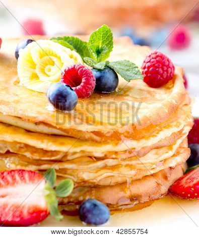 Pancake. Crepes With Berries. Pancakes stack with Strawberry, Raspberry, Blueberry and Syrup