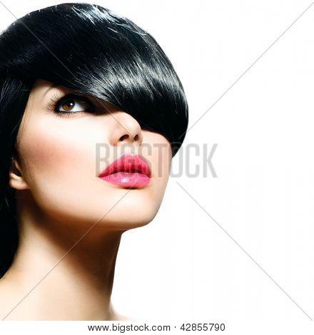 Fashion Hair. Hairstyle. Haircut. Hairdressing. Fringe. Beauty Stylish Girl isolated on White Background