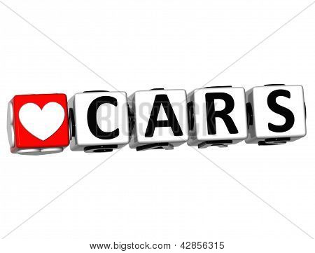 3D Love Cars Button Click Here Block Text
