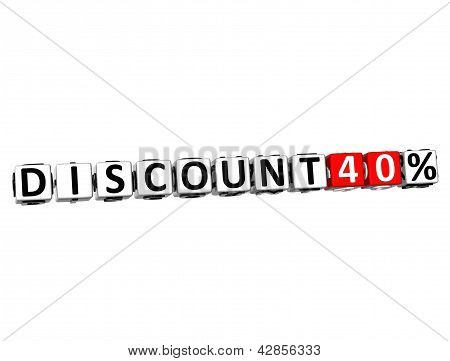 3D Discount 40% Button Click Here Block Text
