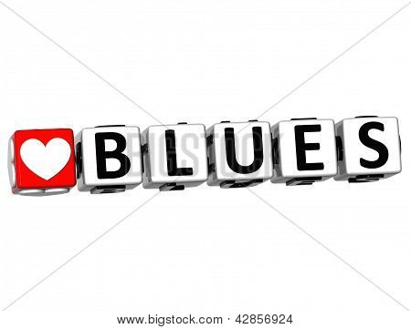 3D Love Blues Button Click Here Block Text