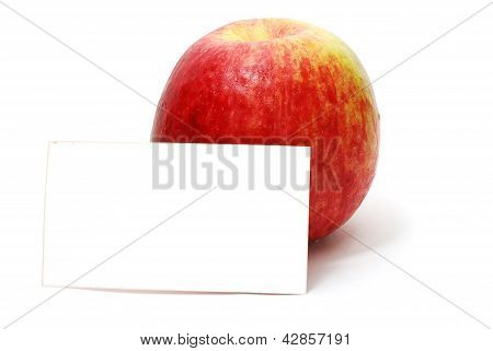 Red Apple With Blank Card