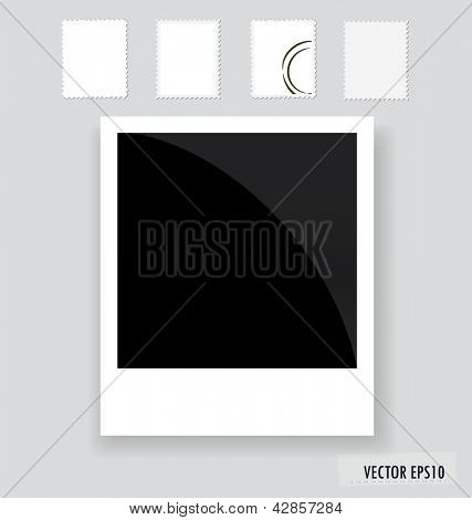 Vector illustration of a blank grunge post stamps and photo frame.
