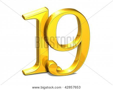 3D Gold Nineteen On White Background