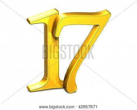 3D Gold Seventeen On White Background