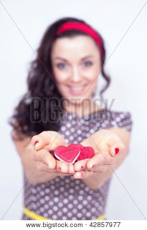 Girl With Hearts In Her Hand