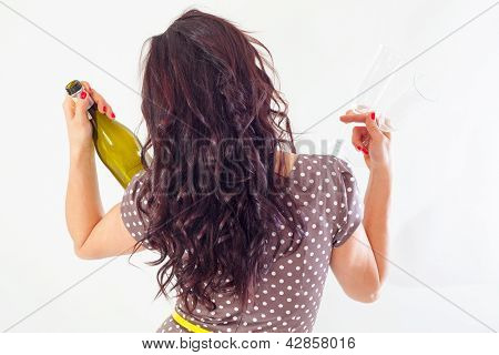 Girl From Behind With Bottle