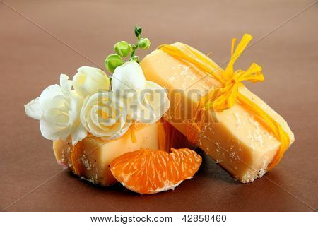 Natural fruit handmade soap, on brown background