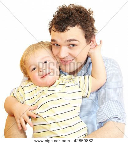 Happy young father with his son.