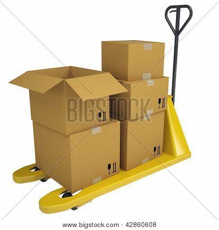Carro de plataforma con cajas