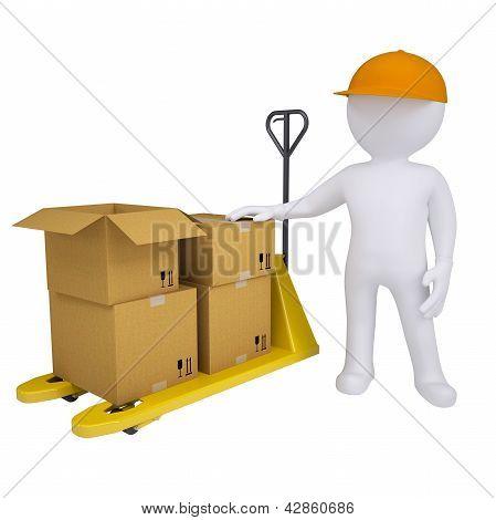 3D man standing next to a pallet truck