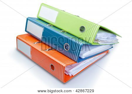 Stationery Office Folder On The Table With Papers. On A White Background.
