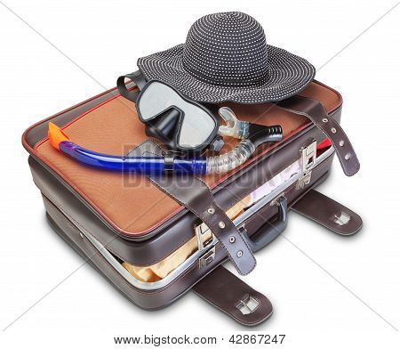 Travel Set On Suitcase  Snorkel Mask Panama. On A White Background.