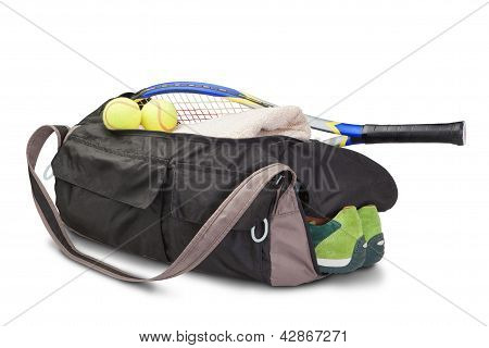 Tennis Sports Bag. With The Racket And Tennis Ball.