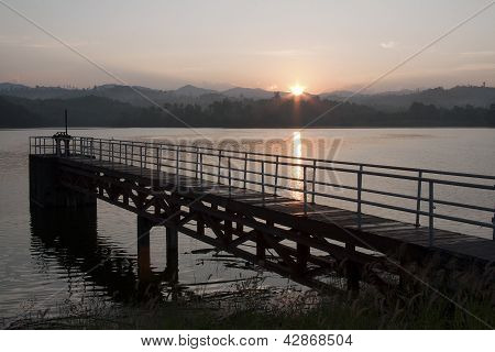Sunrise Mae Sot reservoir Thailand