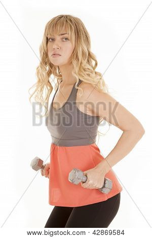 Woman Workout Orange Weights Side