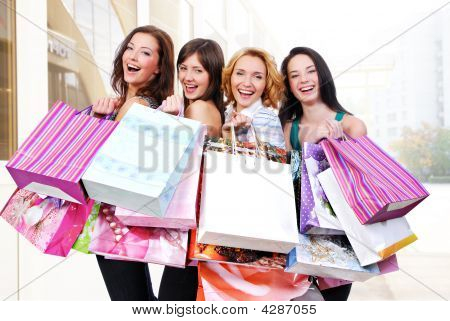 People  Group Happy With Colored Bags