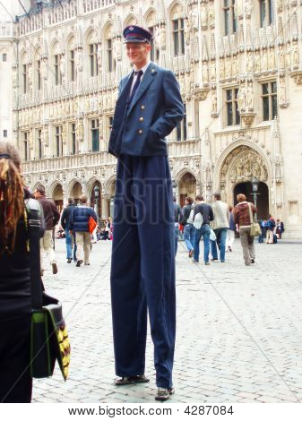 Stilt Walking Man Dressed As Police