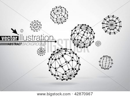 Composition of wire-frame elements in the form of sphere for graphic design