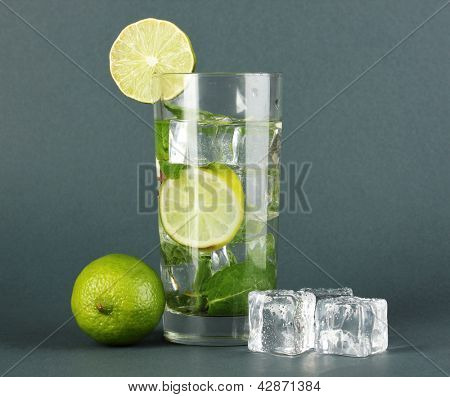 Glass of water with ice, mint and lime on grey background