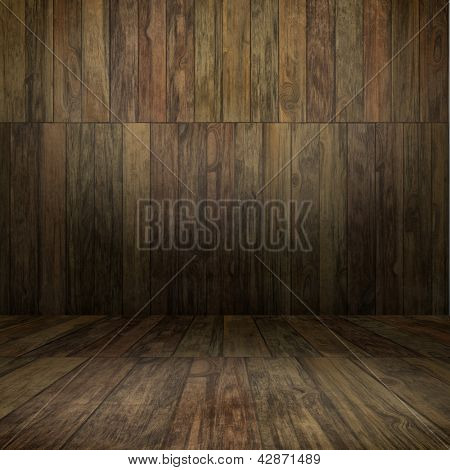 Grunge interior with woodenl floor and wall useful as background
