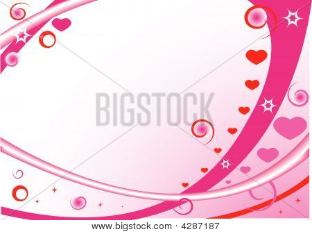 Pink Frame With Hearts, Stars, Circles And Spirals
