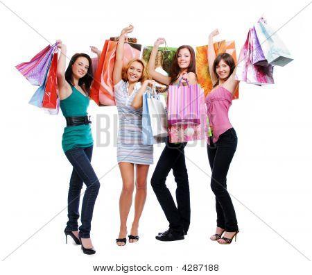 Fun Beauty Girls Out Shopping