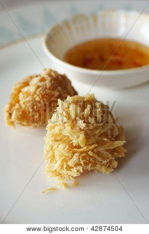 Crispy prawn dumpling