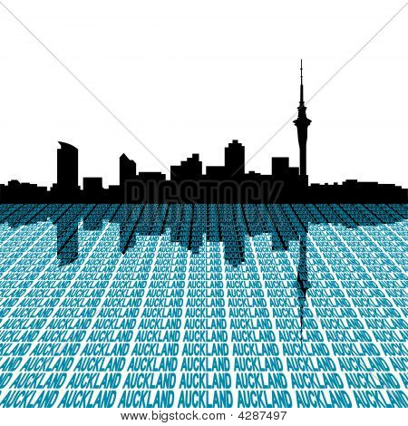 Auckland Skyline mit Text