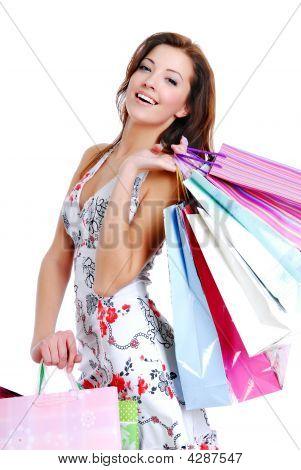 Happy Cute Young Woman Shopping