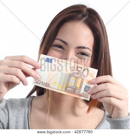 Woman Showing A Fifty Euros Banknote
